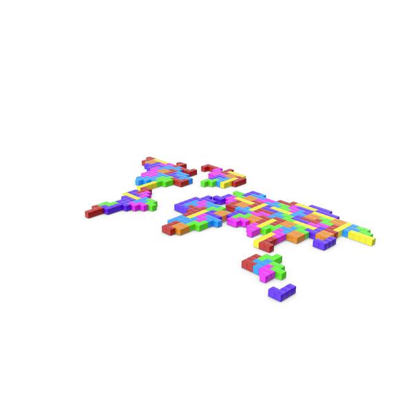 Tetris Blocks World Map PNG & PSD Images