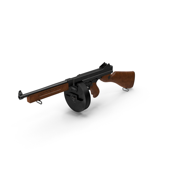 Thompson 1928A1 with Round Drum Magazine PNG & PSD Images