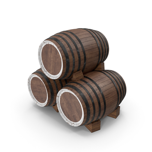 Three Wooden Barrels PNG & PSD Images