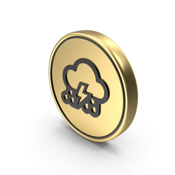 Thunder Cloud Rainy Coin Logo Icon PNG & PSD Images