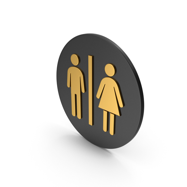 Sign: Toilet Gold Icon PNG & PSD Images