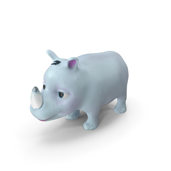 Toon Rhino Baby White PNG & PSD Images