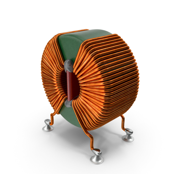 Toroidal Choke Coil Filter Inductor Soldered PNG & PSD Images