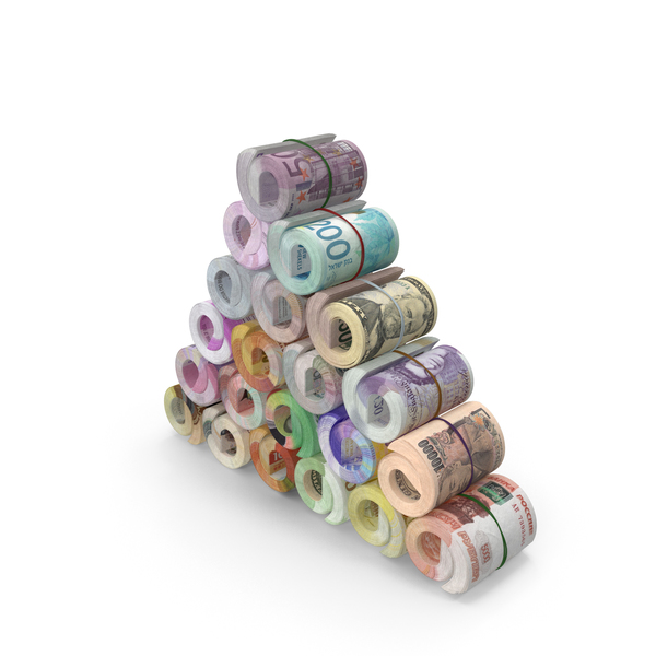Banknote: Tower of Rolls of Banknotes From Different Countries PNG & PSD Images