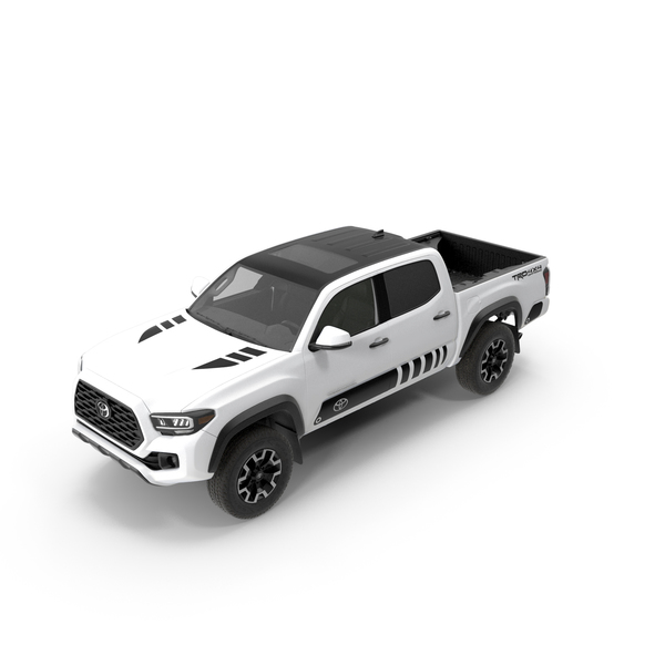 Pick Up Truck: Toyota Tacoma TRD Off Road White Perl 2021 PNG & PSD Images