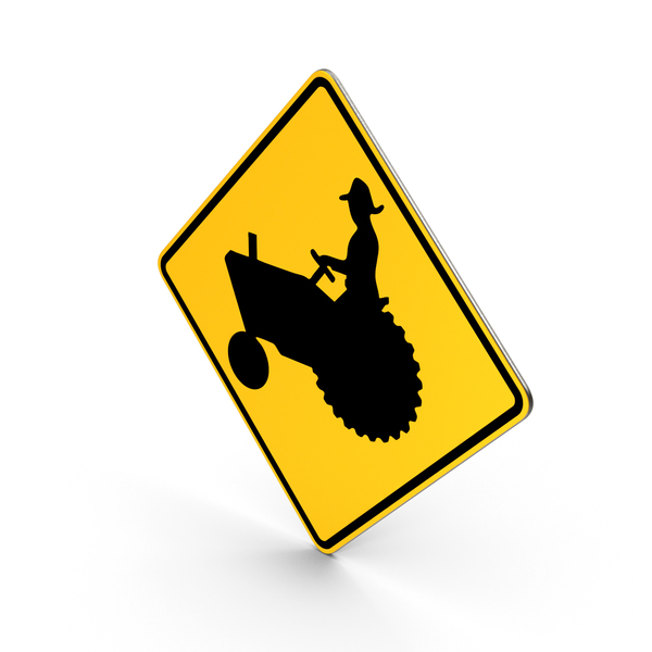 Traffic Signs: Tractor Farm Vehicle Crossing Road Sign PNG & PSD Images