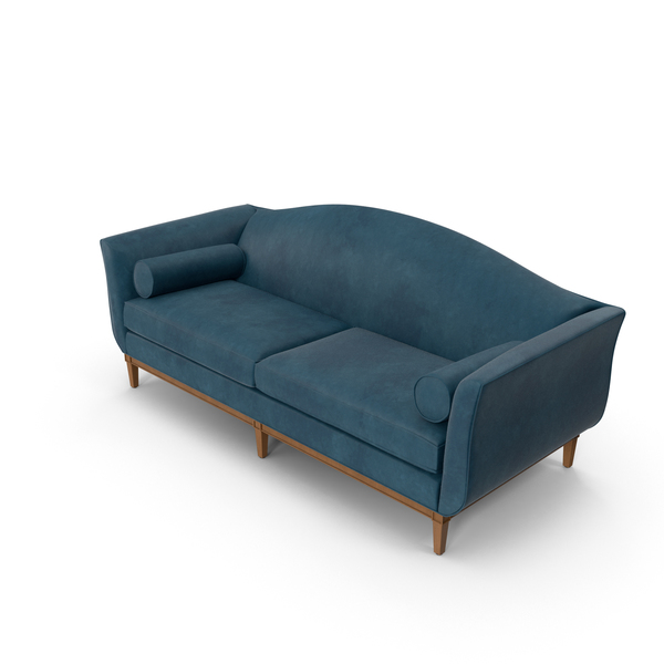 Traditional 2 Seater Sofa Blue Velvet PNG & PSD Images