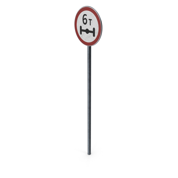 Traffic Sign Axle Massload Limit With Pole PNG & PSD Images