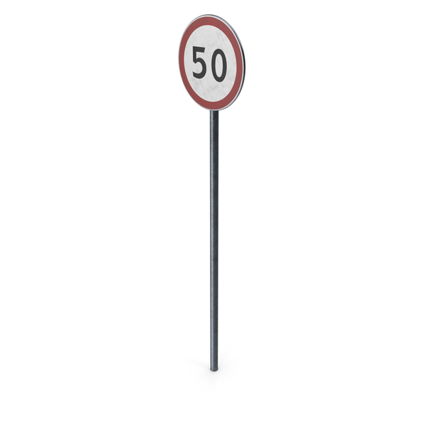 Traffic Sign Maximum Speed With Pole PNG & PSD Images