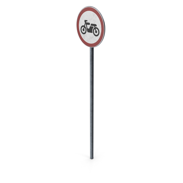 Traffic Sign No Motor Cycles With Pole PNG & PSD Images
