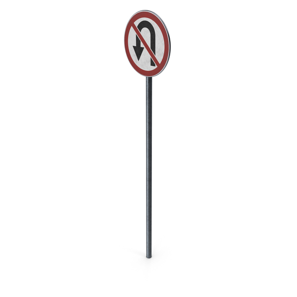 Traffic Sign No U Turn With Pole PNG & PSD Images