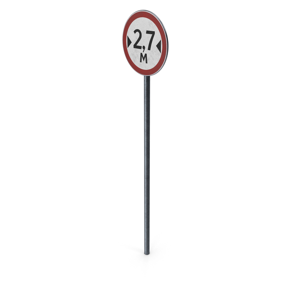Traffic Sign Width Limit With Pole PNG & PSD Images