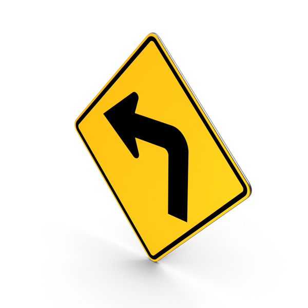 Traffic Turn Left Road Sign PNG & PSD Images