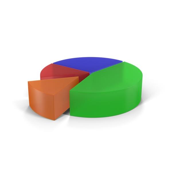 Translucent Multicolored Pie Chart Segment Object
