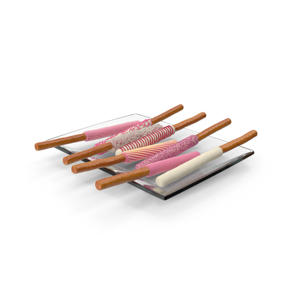 Tray with Valentine's Dipped Pretzel Rods PNG & PSD Images