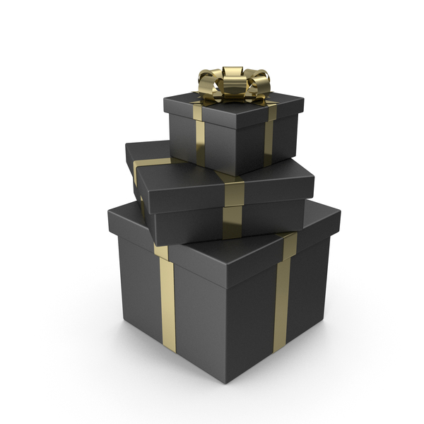 Box: Tree Black Gift Boxes with Gold Bow PNG & PSD Images