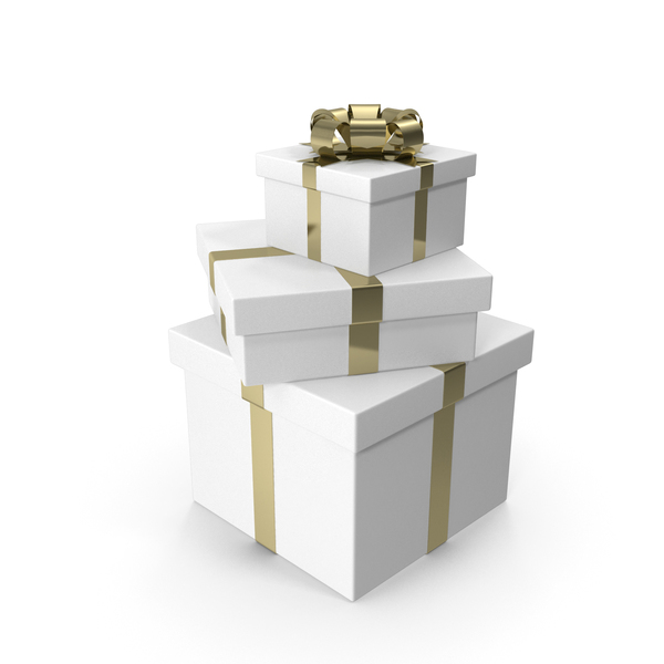 Tree White Gift Boxes with Gold Bow PNG & PSD Images