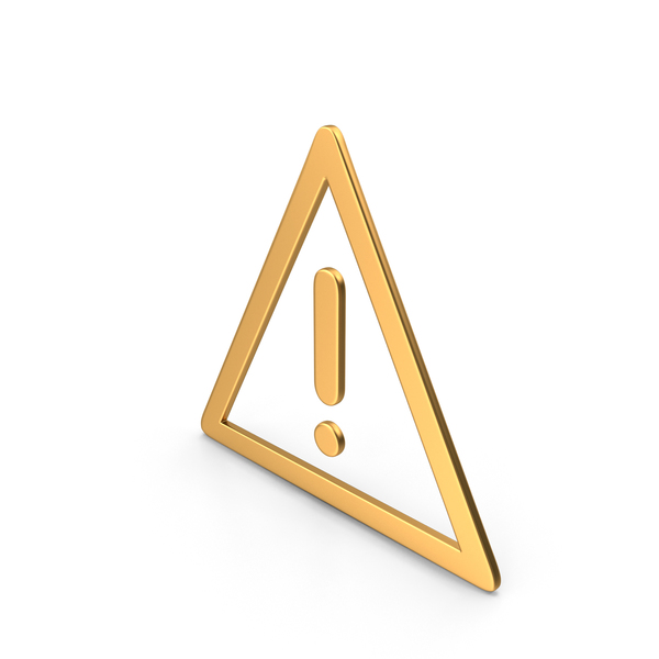 Triangle Warning Sign Gold PNG & PSD Images