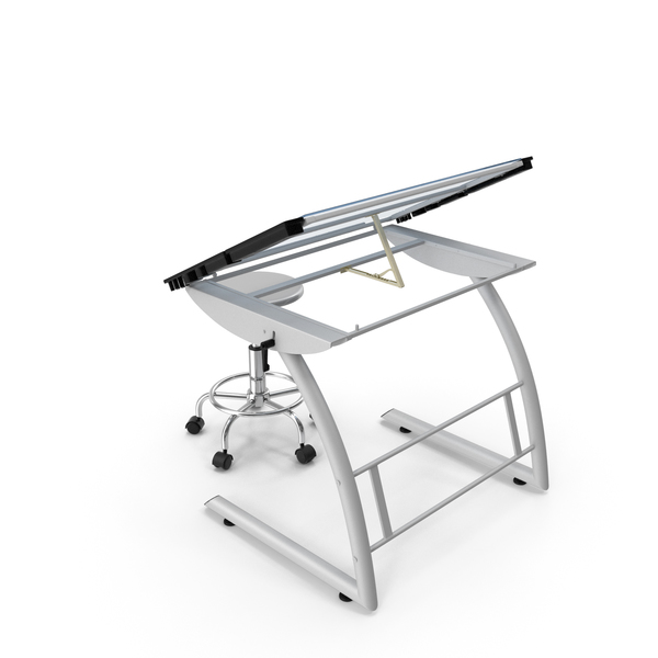 Drafting: Triflex Adjustable Glass Drawing Table with Stool White PNG & PSD Images