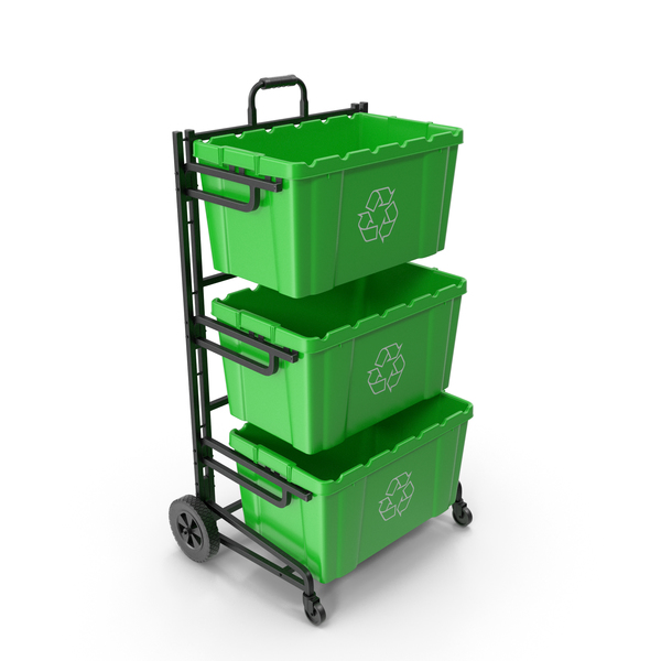 Triple Bin Recycling Cart with Bins PNG & PSD Images