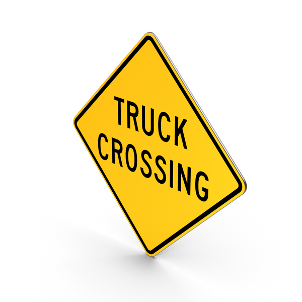 Truck Crossing Road Sign PNG & PSD Images