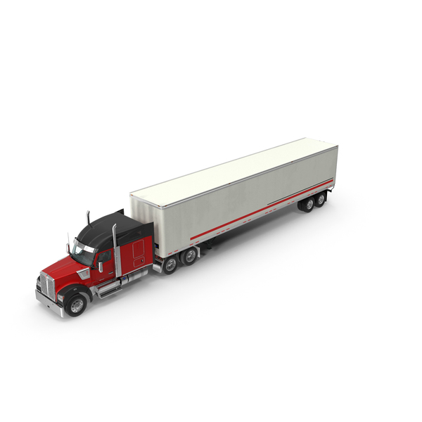 Large Goods Vehicle: Truck Kenworth W990 with Semi Trailer PNG & PSD Images