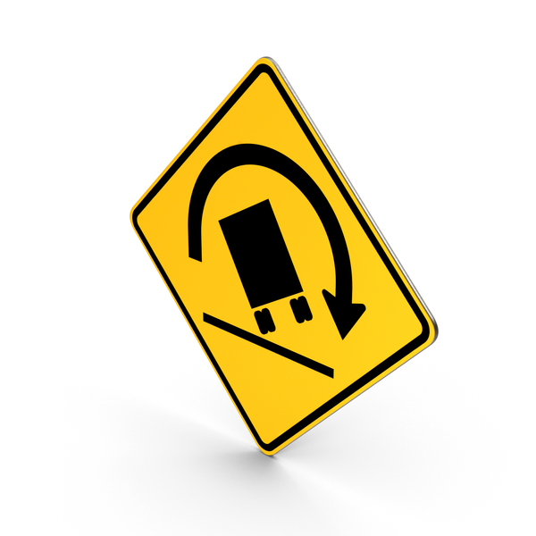 Truck Rollover Warning Road Sign PNG & PSD Images