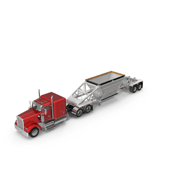 Semi: Truck with Bottom Dump Trailer PNG & PSD Images