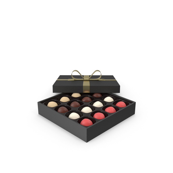 Truffles Black Gift Box with Gold Ribbon PNG & PSD Images