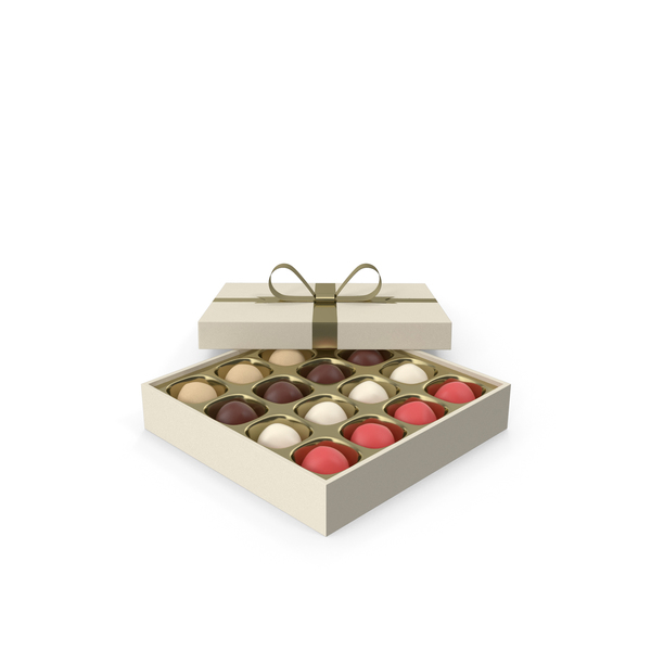 Truffles White Gift Box with Gold Ribbon PNG & PSD Images