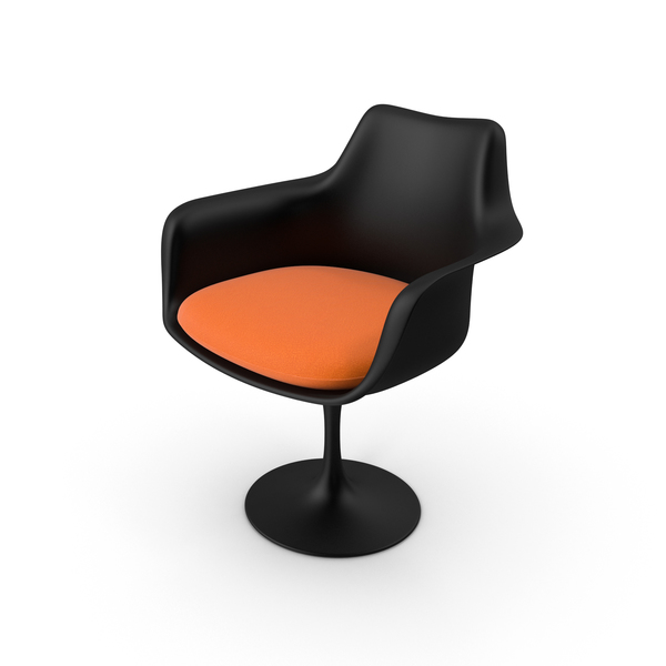 Tulip Chair With Arms Black PNG & PSD Images