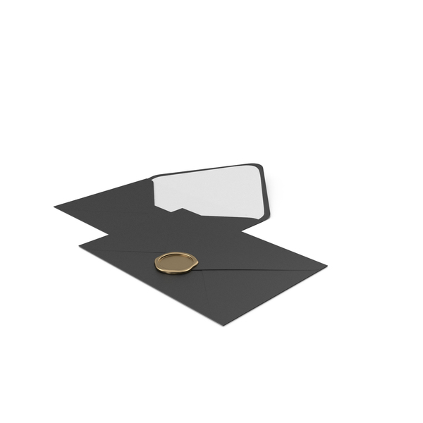 Envelope: Two Black Envelopes with Wax Stamp PNG & PSD Images