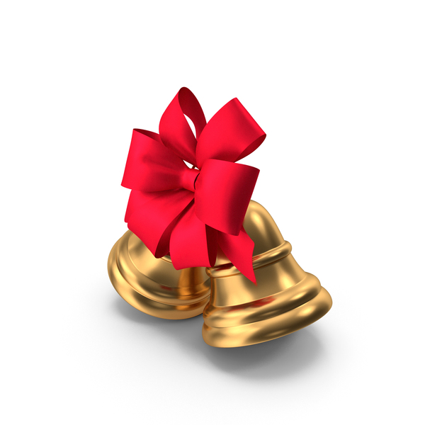 Two Christmas Bells with Large Red Ribbon PNG & PSD Images