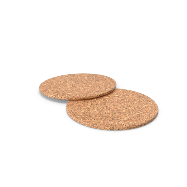 Two Cork Beverage Coasters PNG & PSD Images