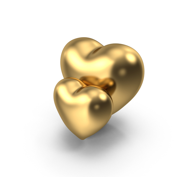Two Gold Hearts PNG & PSD Images