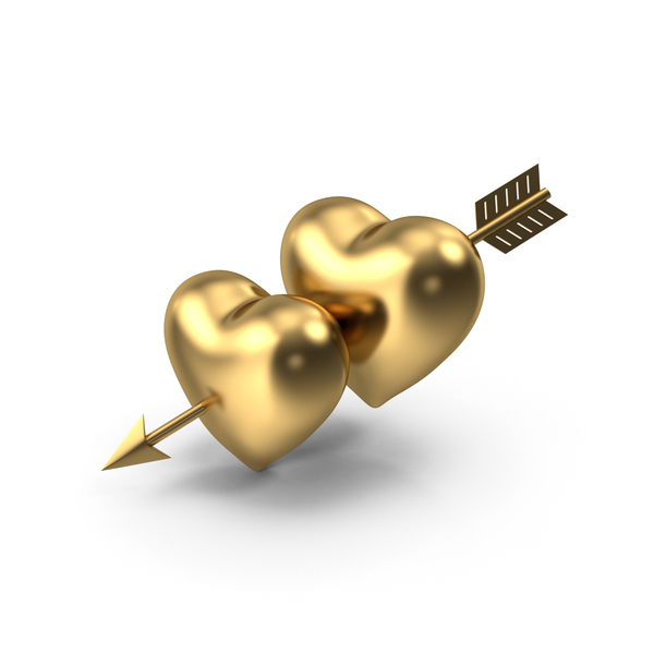 Two Golden Hearts with Arrow PNG & PSD Images