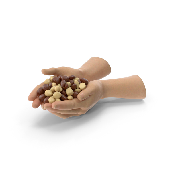 Two Hands Handful With Chocolate Covered Almond Candy PNG & PSD Images