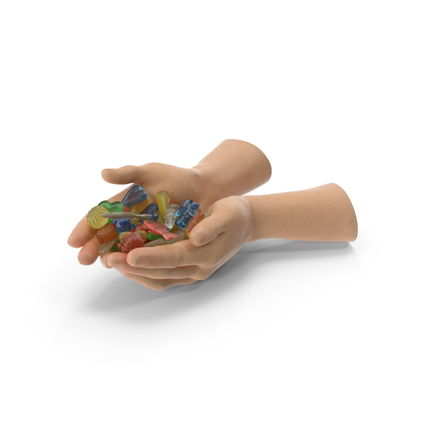 Two Hands Handful with Mixed Gummy Candies PNG & PSD Images