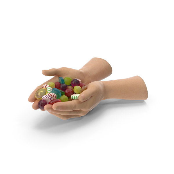 Two Hands Handful with Mixed Hard Candy PNG & PSD Images