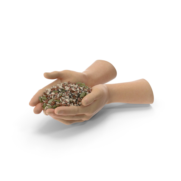 Hand: Two Hands Handful with Mixed Healthy Seeds PNG & PSD Images