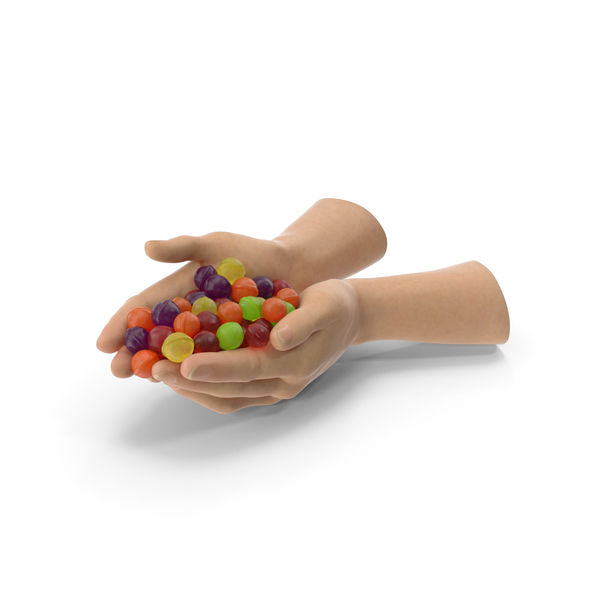 Two Hands Handful with Spherical Hard Candy PNG & PSD Images