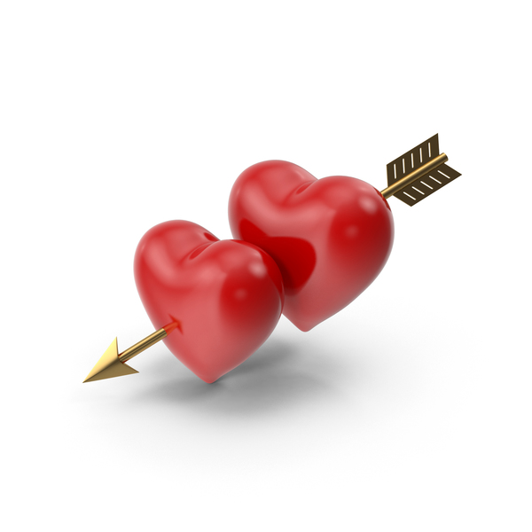 Two Hearts with Arrow PNG & PSD Images