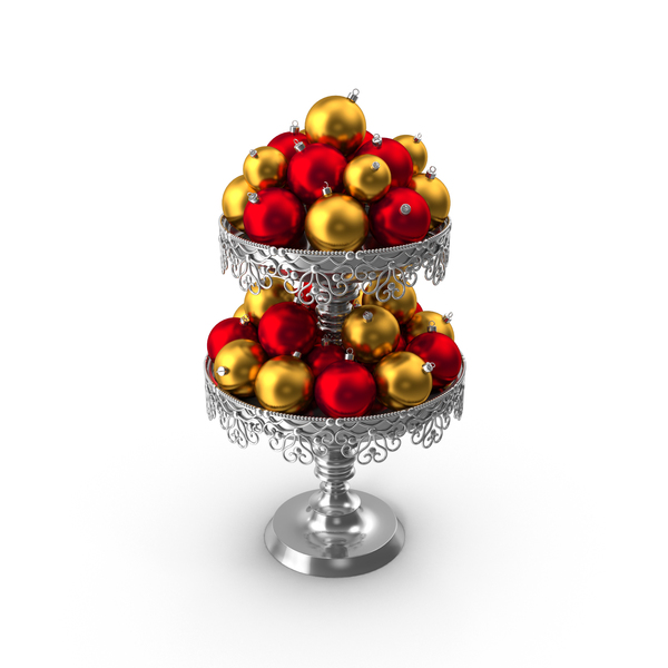 Christmas Ball: Two Tier Vase With Ornaments PNG & PSD Images