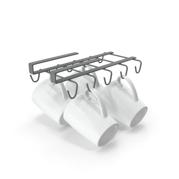 Under Shelf Mug Holder with Mugs PNG & PSD Images