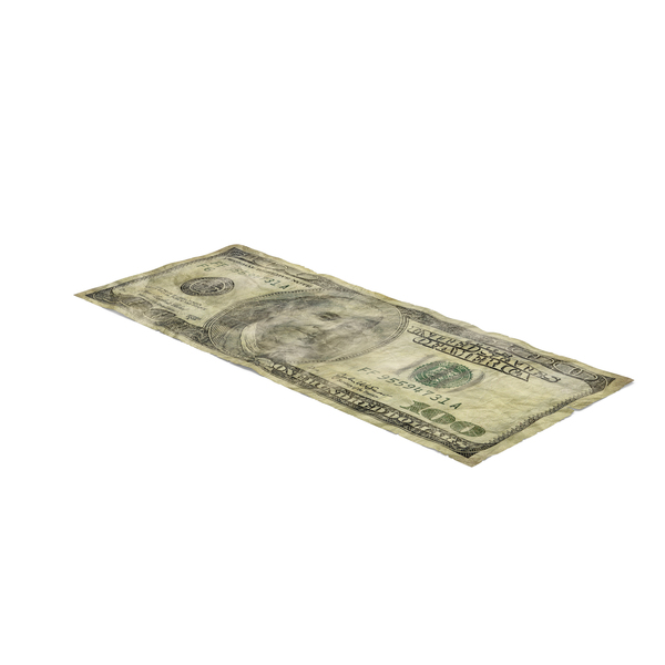 One Hundred: US 100 Dollar Bill Distressed PNG & PSD Images