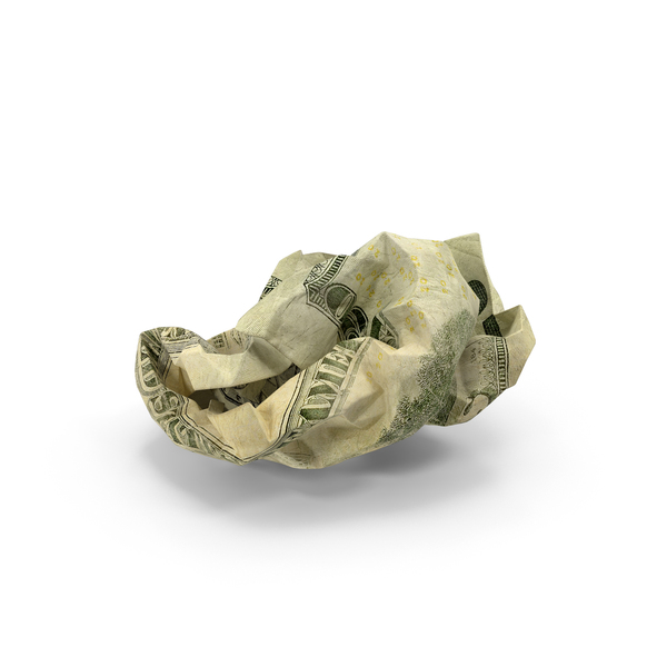 US 20 Dollar Bill Crumpled PNG & PSD Images