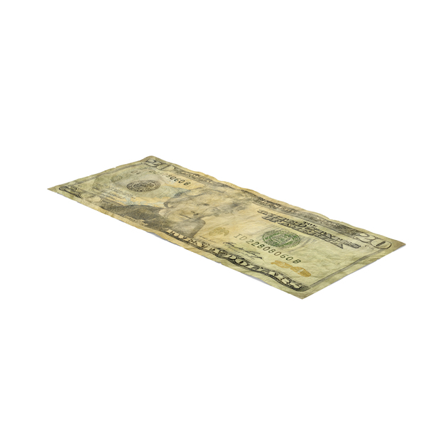 US 20 Dollar Bill Distressed Object