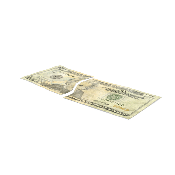US 20 Dollar Bill Torn PNG & PSD Images