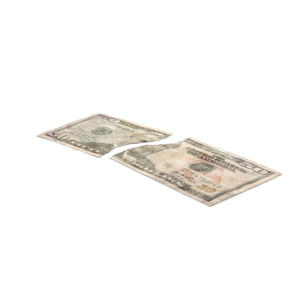 US 50 Dollar Bill Torn PNG & PSD Images
