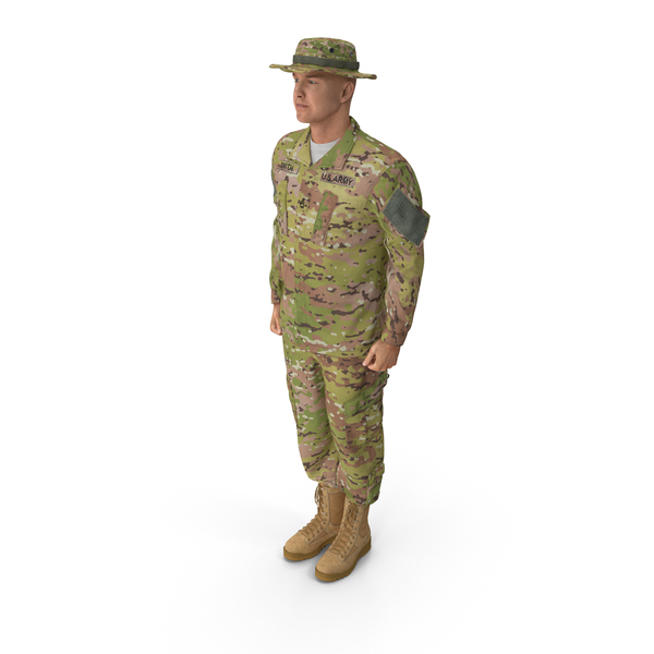 Man: US Soldier Standing at Attention ACU Camo PNG & PSD Images